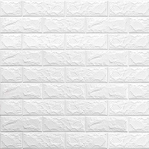 INMOZATA 10 Piezas 3D Papel Pintado, 60×60cm Paneles de Pared Estilo Ladrillo, Impermeable Autoadhesivo, para Hogar Cocina Salón y Dormitorios (Blanco)