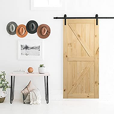 BELLEZE | Sliding Barn Door | Unfinished Knotty Pine |Single Door Only | No Rail Kit Included | Pre Drilled | Interior | Rustic Look | 3FT X 7 FT | 36 x 84 inches | Natural