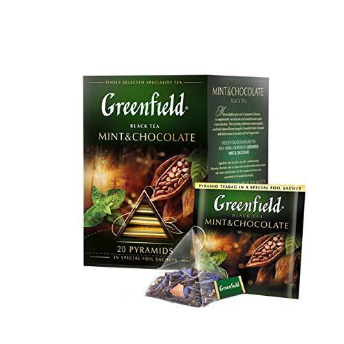 Greenfield Mint & Chocolate, Aromatisierter Schwarzer Tee, lose, Flavoured Black Tea, 20 Pyramidenbeutel [ 2 Stück = 40 Tassen]