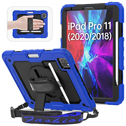 """HXCASEAC Case for iPad Pro 11"""" 2020 & 2018 with Pencil Holder, Shoulder/Hand Strap, Screen Protector, Built-in Stand, [Support Apple Pencil 2 Wireless Charging], Rugged Heavy Duty Protective Case,Blue"""