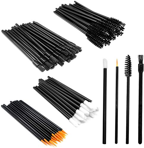 Kit de aplicadores de maquillaje de 100 piezas, varitas de rímel + aplicadores de lápiz labial + pinceles de delineador de ojos, kit de herramientas de pinceles de maquillaje de 4 estilos