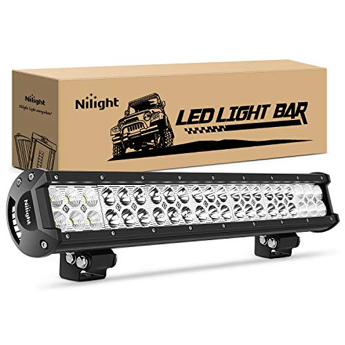 Nilight - 60005C-A 20Inch 126W Spot Flood Combo Led Light Bar Off Road Lights Boat Lighting Fog Light Driving Lights LED Work Light for Trucks, 2 Years Warranty