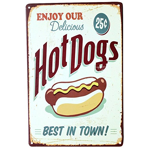 DaoRier Metall Blechschild Hot Dog Muster Eisenmalerei Wand-Dekoration Metall 30x20cm
