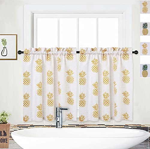 """NANAN Cafe Curtains, Pineapple Tier Curtains Linen Bathroom Curtains Window, 24 inch Kitchen Window Drapes Curtain Panels Window Treatment (27"""" x 24"""", Yellow Pineapple, 2 Panels)"""