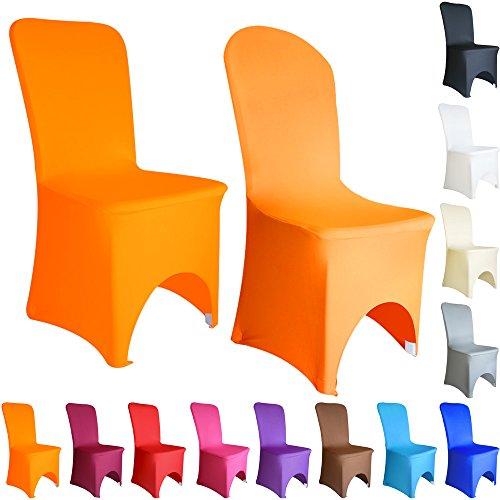 Time to Sparkle Lot de 50 Housse de Chaise Extensible en élasthanne Lycra Couverture Chaise pr Décoration Mariage Cérémonie Banquet Arqué Devant (Orange Brûlé)