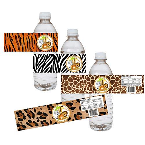 Adorebynat Party Decorations - EU Las etiquetas de botellas Partido de la selva Safari de agua - de piel animal bebé bebida partido de ducha de la etiqueta - conjunto de 12