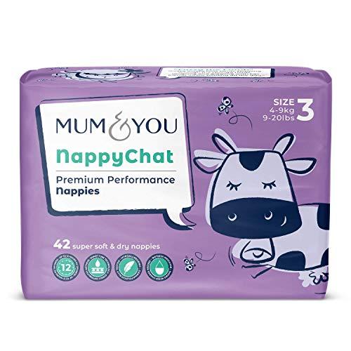 Mum & You Pañales ecológicos Nappychat, Talla 3 (42 pañales) con tecnología Smart Tube para lograr una protección extra frente a las fugas. Hipoalergénicos, probados y dermatológicamente