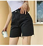 Jeans Dame High Waist Slim Jeansshorts Bermuda Plus Size Frau Quaste Enge Fünf-Punkte-Jeansshorts...