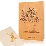 Creawoo Tarjeta de felicitación de madera hecha a mano 'Te quiero', tarjetas de madera para aniversario, boda, cumpleaños, citas, regalo de San Valentín para su esposa, marido, novia, novio