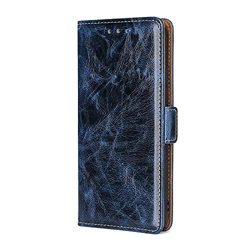 SCRENDY Klapphülle Kompatibel Mit Asus Zenfone 8 Hülle, Hochwertige Lederhülle Mit Karten Steckfächern [Magnetverschluss] [Strapazierfähiger Rahmen], Blau