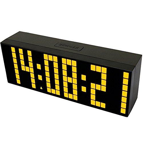Redlution LED Digital-Wecker,Große HD-Display,Snooze,Smart-Soft Licht,Tischuhr,Wanduhr,mit Thermometer Kalender (Gelb)