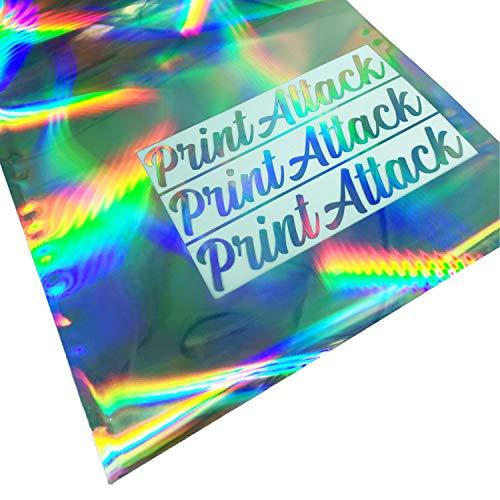 PrintAttack P052 Plottfolie Oilslick Hologramm Din A4 Set (21cm x 29,7cm) | Glitter Effekt | Plotterfolie | Bastelfolie | Rainbow | Holographic (31,80€/m²) Holo Folie (3 Bögen DIN A4)