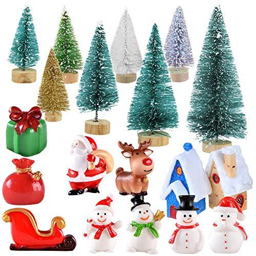 Sapin de Noël Miniature,16 pièces Mini Arbres de Noël et 11 pièces Figurines de Style Noël Bonhomme de Neige Père Noël Elk Dessin animé Mignon Décor de Noël Arbre de Noël pour l'artisanat de Noël