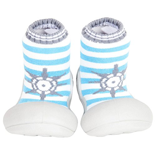 Attipas Marine Green - ergonomische Baby Lauflernschuhe, atmungsaktive Kinder Hausschuhe ABS Socken Babyschuhe Antirutsch 24