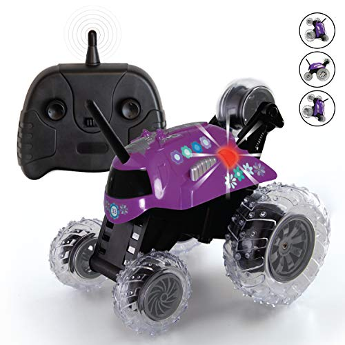 SHARPER IMAGE Thunder Tumbler Toy RC Car for Kids, Remote Control Monster Spinning Stunt Mini Truck for Girls and Boys, Racing Flips and Tricks with 5th Wheel, 27 MHz Purple