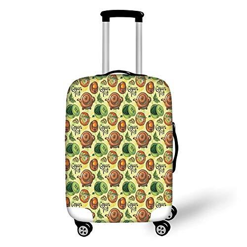 Travel Bagage Cover Koffer Beschermer, Theepartij, Groene Thema Patroon met Citroen Plakjes Kruidenbladeren Gezond Aromatisch Drank Decoratief, Multi kleuren, voor Reizen
