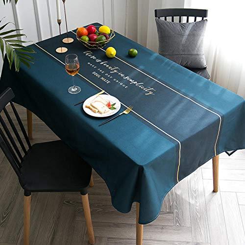 QKEMM Moderno Mantel Tipo Hule Encerado Rectangular Lino de Algodón Anti Escaldaduras Resistente Al Desgaste Impermeable Elegante Azul Marino 140×180cm