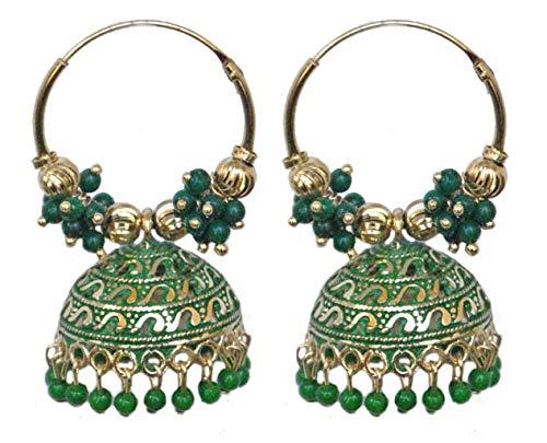 Pahal - Pendientes de aro de Jhumka de Jaipur étnico de Bollywood Jaipur con perlas pintadas de oro grande indio, joyería de fiesta para mujer