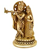 ITOS365 Radha Krishna Brass Statue Hindu God Sculpture Religious Gifts Item, 5.5 Inches
