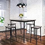 Dporticus 5-Piece Kitchen & Dining Set Kitchen Table and Chairs with Metal Legs