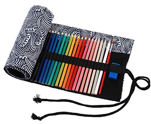 amoyie Sacchetto della matita tela rotolo astuccio per 72 matite colorate (no inclusa matite) - Albero grigio
