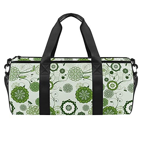 Borse da spiaggia da viaggio, grande sport palestra durante la notte Duffle verde floreale modello moderno arte stampa borsa a tracolla con asciutto bagnato tasca