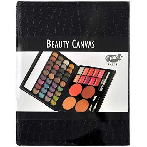 Make-up palet - Beige imitatieleren etui-versie - Oogschaduwen,Lippenstiften en 4 bloesems - Schoonheidscanvas Collectie