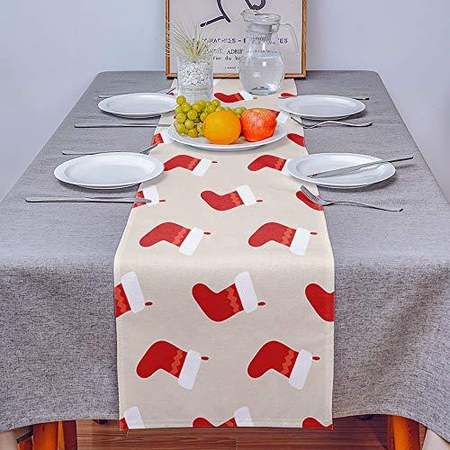 VFGHH Camino De Mesa,Calcetines Rojos Navideños De Estilo Nórdico, Mantel Rectangular Lavable para Mantel De Cocina, Mantel para Fiestas, Restaurantes, Decoración para El Hogar, 33 * 178 Cm
