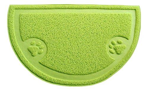 Semi-cirkelvormig kattenbak, vuil en stofbestendig, deurmat, mat voor maaltijd, 36 x 60 cm, 1 stuk, groen
