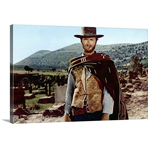 Clint Eastwood in The Good, The Bad, and The Ugly - Movie Still Canvas Wall Art Print, 18'x12'x1.25'