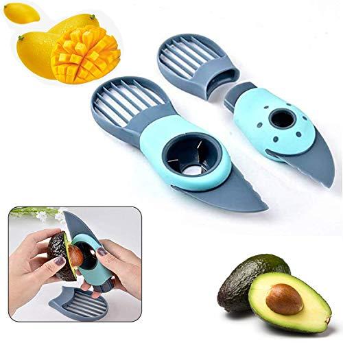Avocadoschneider,mit 3 in 1 Avocadoschneider, Obstschäler,Edelstahlklinge Avocadoschäler Gute Griffe Avocado Slicer Cutter für Frische Avocado-Sparer