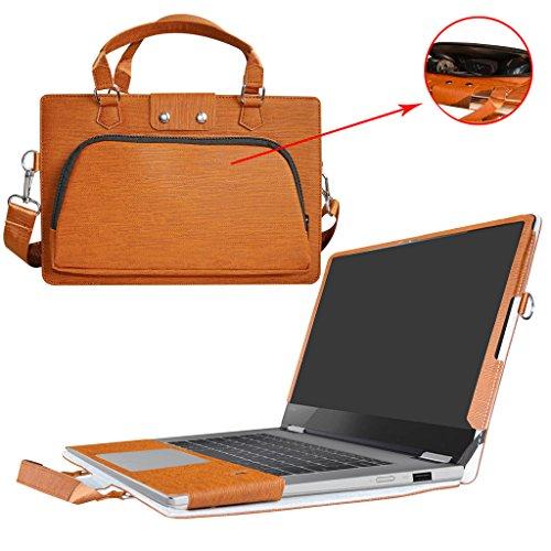 Labanema 2 in 1 speciaal design PU lederen handtas draagtas schouderbescherming + draagtas draagbare tas draagbare laptoptas met handgreep schouderriem handvat voor Lenovo Yoga 720 13 Serise Notebook bruin