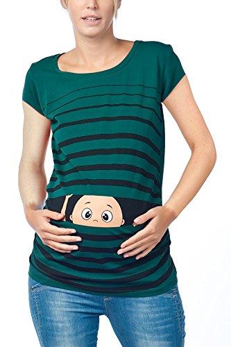 Camiseta premamá de manga corta, diseño divertido verde oscuro M
