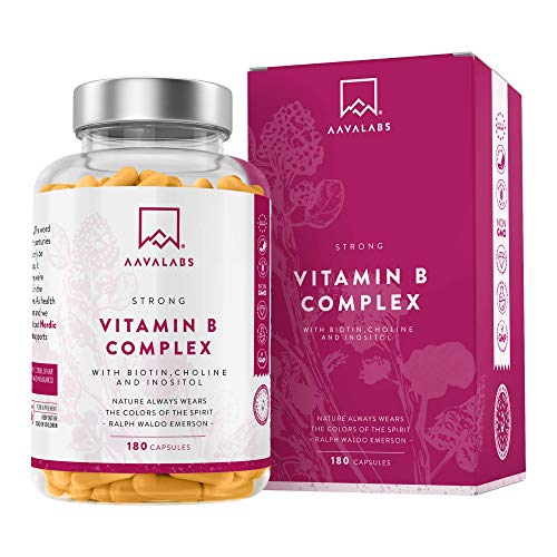 Complexe de Vitamine B - 180 Capsules - 286,3 mg/Dose Quotidienne - Réduction de la Fatigue et Lassitude - Favorise le Métabolisme Énergétique Normal - 100% Végétalien - Qualité Nordique d'AAVALABS