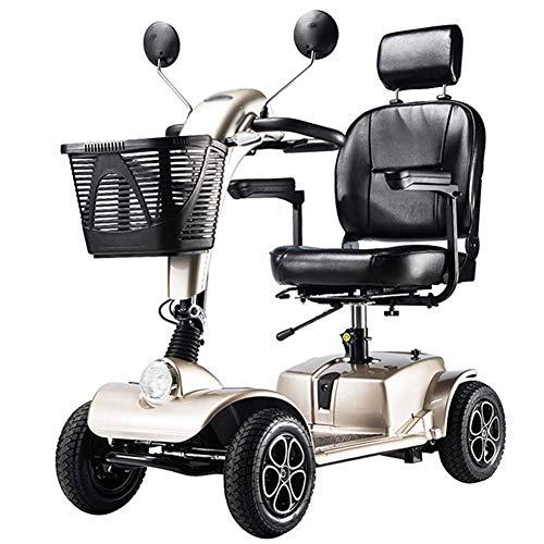 LJWJ Silla de Ruedas Lightweight Dgpoad Wheels Scooter Eléctrico para Adultos Power Mobility Scooter Seniors Seniors Scooter, Plegable, Pasamanos Abiertos, Asiento de 43 cm de Ancho, 47 Kg con Baterí