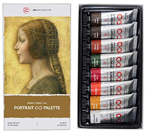 ZenART Non-Toxic Oil Paints for Professional Artists - 8 x Large 45ml Tubes - Portrait Palette of Eco-Friendly Paint with Exceptional Pigment and Lustrous Sheen - The Infinity Series