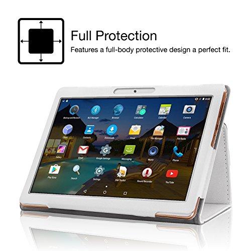 XIDO Slim Folio Hülle Case Tasche für Yuntab 10.1 Zoll K17 K107/ ACEPAD A140 A121 A101/ Artizlee ATL-31 ATL-21X Z120/3G X110/3G X111 (with Flash)/ BEISTA/LNMBBS/Anteck/Cewaal Tablet, Weiß