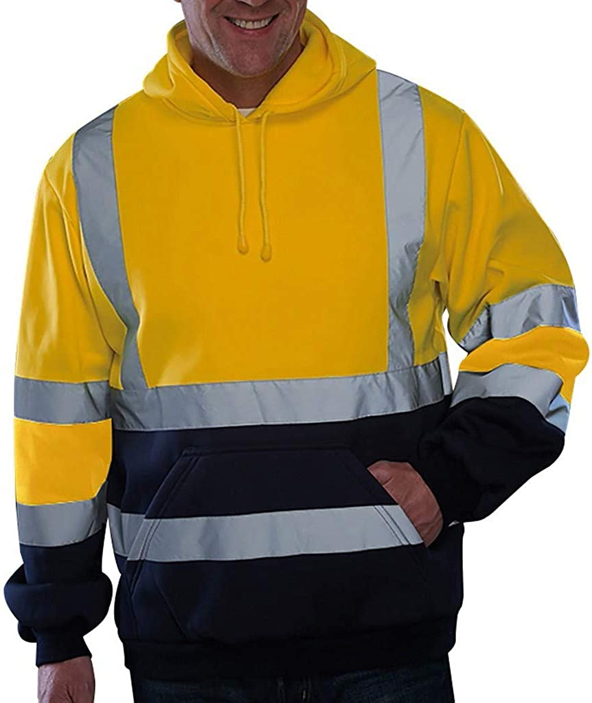 7789 Men's High Visibility Hooded Sweatshirts Outdoor Road Work Long Sleeve Active Hoodies Tops Blouse