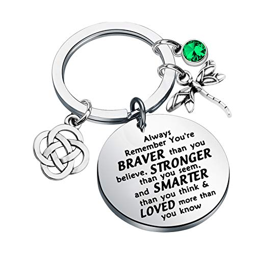 AKTAP Outlander Inspired Sasenach Inspired Key Ring Dragonfly Charm Celtic Knot Jewelry Always Remember You're Braver Than You Believed (Outlander Keychain)