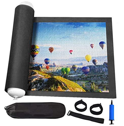 Tappeto per puzzle in feltro, tappetino per puzzle nero, blocco puzzle con custodia da viaggio, fino a 1500 pezzi di puzzle