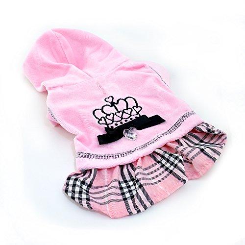 Pettribe Hooded Sweater PINK Princess voor honden, jurk voor honden met kristallen hart en ingenaaide kroon, Large