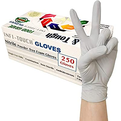 Infi-Touch - (250 Count) Food Safe - , Lite Duty Nitrile Gloves, Lite & Tough, Disposable Gloves (Medium)