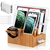 BambuMate Bamboo Charging Station for Multiple Devices, Wood Docking Station Dock Organizer Compatible with Cell Phones, Watch, Tablet (with Watch Stand,5 Port USB Charger, 5 Charger Cables)