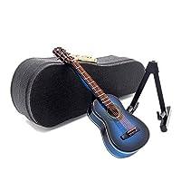 【Odoria ミニチュア楽器】1/12 木製 ブルー ギター スタンドとケース付 ドールハウス インテリア [並行輸入品]