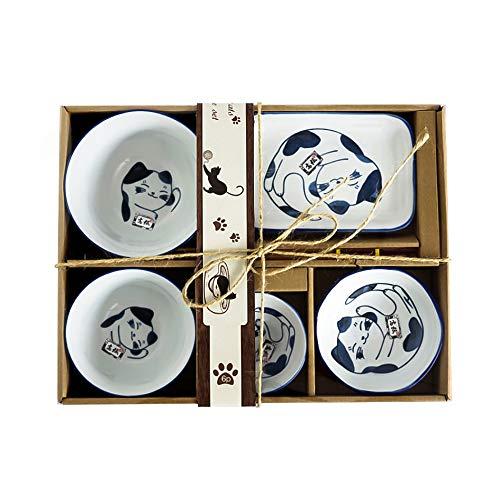 Watenkliy - Juego de vajilla japonesa para sushi (porcelana, 6 piezas)