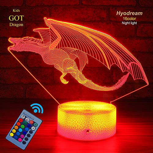 Dragon Lamp Dragon Night Light Kids Night Light,16 Colors with Remote 3D Optical Illusion Kids Lamp as a Pefect Gifts for Boys and Girls GOT on Birthday or Holiday (Dragon) …