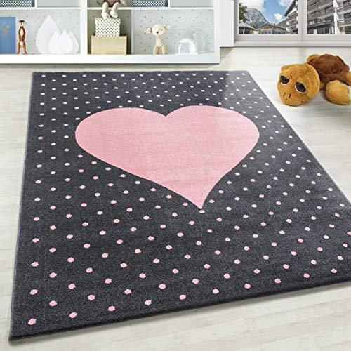 SIMPEX Kinderteppich für Mädchen kurzflor Herz Muster mit Punkten Grau Pink Farben, Größe:120x170 cm, Farbe:Pink