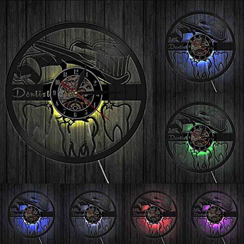 Deckel 7 FarbenMundhygiene Zahnbürste und Zahnpasta Badezimmer Wanddekoration Uhr Zahn Zahnpflege Klinik Vinyl Wanduhr Zahnarzt Uhr