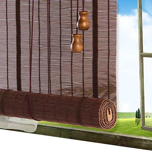 Store Bambou Exterieur QIANDA Venitien Enrouleurs, Coupure Électrique Thermique Fenêtre Ombre avec Raccords Ajustement Facile for Jardin, Patio, Galerie, Carport (Color : B, Size : 120x220cm)