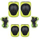 GUANEE Juego de 6 rodilleras protectoras para niños, para ciclismo, patinaje, coderas, muñequeras, color verde